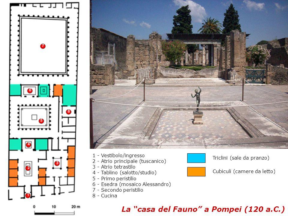La casa del Fauno a Pompei (120 a.C.) 1 - Vestibolo/ingresso 2 - Atrio principale (tuscanico) 3 - Atrio tetrastilo 4 - Tablino (salotto/studio) 5 - Primo peristilio 6 - Esedra (mosaico Alessandro) 7 - Secondo peristilio 8 - Cucina Triclini (sale da pranzo) Cubiculi (camere da letto)