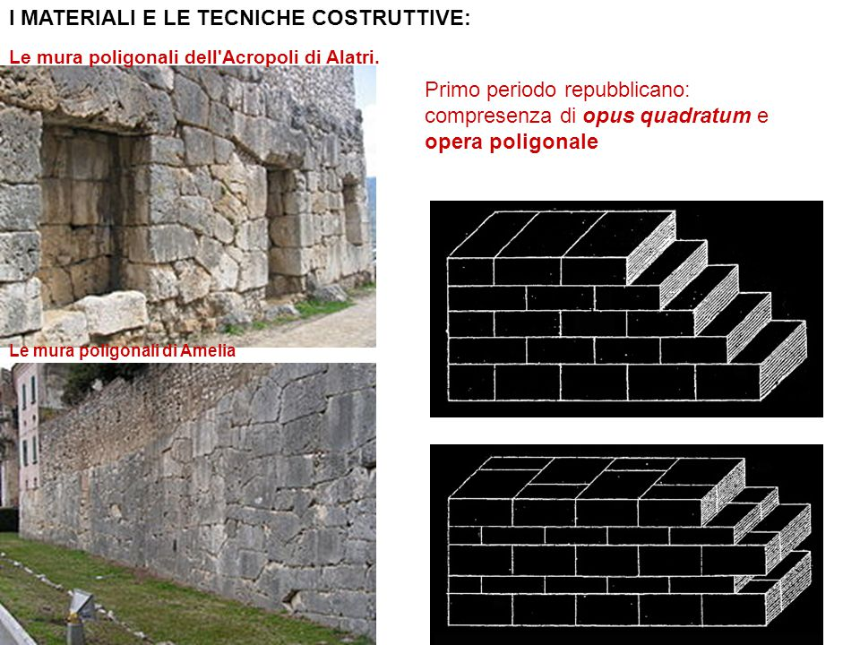 I MATERIALI E LE TECNICHE COSTRUTTIVE: Le mura poligonali dell'Acropoli di Alatri. Le mura poligonali di Amelia Primo periodo repubblicano: compresenz