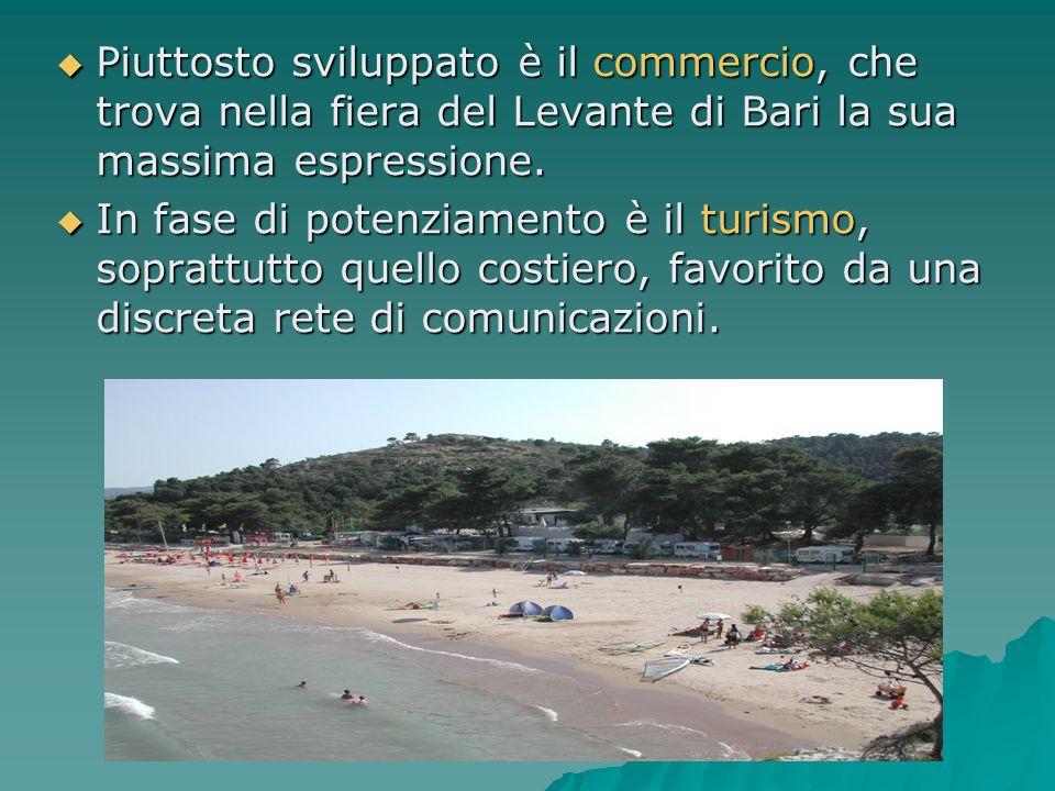  Piuttosto sviluppato è il commercio, che trova nella fiera del Levante di Bari la sua massima espressione.  In fase di potenziamento è il turismo,