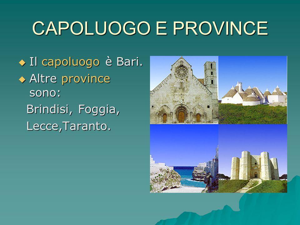 CAPOLUOGO E PROVINCE  Il capoluogo è Bari.  Altre province sono: Brindisi, Foggia, Brindisi, Foggia, Lecce,Taranto. Lecce,Taranto.
