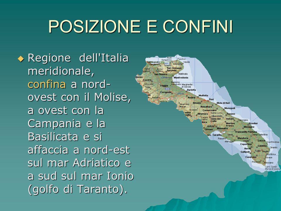 POSIZIONE E CONFINI  Regione dell'Italia meridionale, confina a nord- ovest con il Molise, a ovest con la Campania e la Basilicata e si affaccia a no