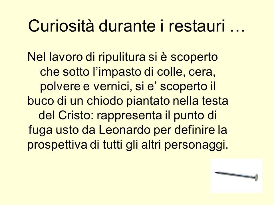 … le curiosità continuano … La ripulitura de il Cenacolo ha permesso di riscoprire anche i piedi degli apostoli sotto il tavolo ma non quelli di Cristo.