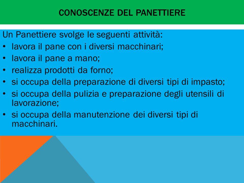 CONOSCENZE DEL PANETTIERE Un Panettiere svolge le seguenti attività: lavora il pane con i diversi macchinari; lavora il pane a mano; realizza prodotti