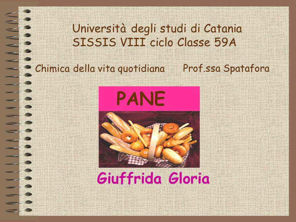 Università degli studi di Catania SISSIS VIII ciclo Classe 59A PANE Giuffrida Gloria Chimica della vita quotidiana Prof.ssa Spatafora