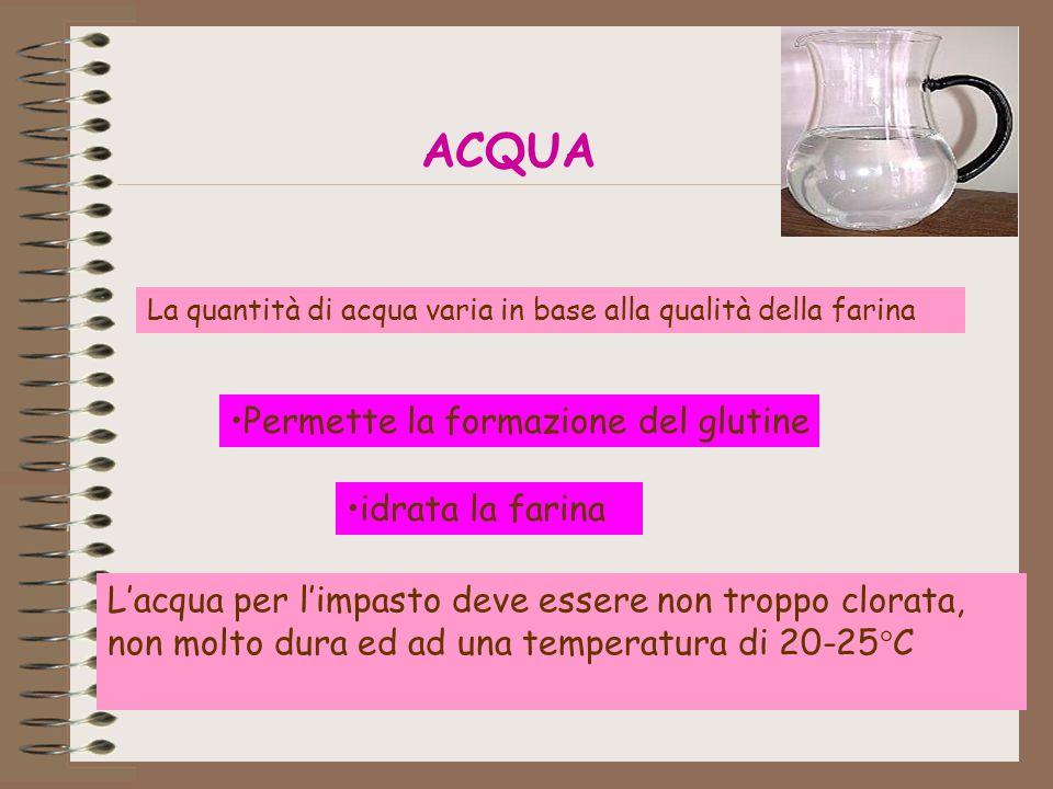 ACQUA idrata la farina Permette la formazione del glutine L'acqua per l'impasto deve essere non troppo clorata, non molto dura ed ad una temperatura di 20-25°C La quantità di acqua varia in base alla qualità della farina