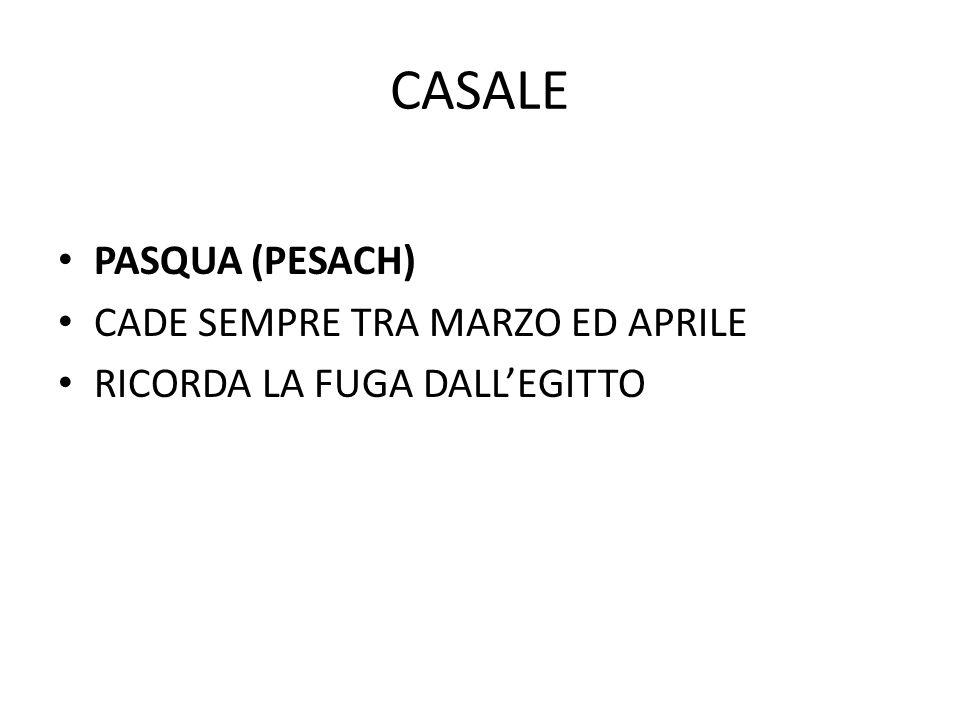 CASALE PASQUA (PESACH) CADE SEMPRE TRA MARZO ED APRILE RICORDA LA FUGA DALL'EGITTO