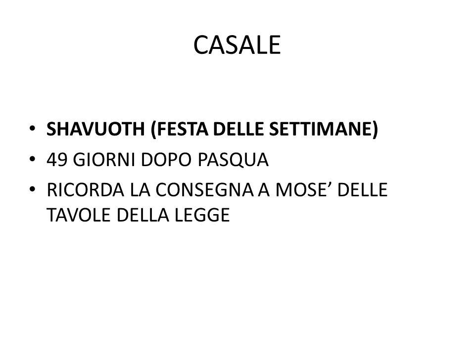 CASALE SHAVUOTH (FESTA DELLE SETTIMANE) 49 GIORNI DOPO PASQUA RICORDA LA CONSEGNA A MOSE' DELLE TAVOLE DELLA LEGGE