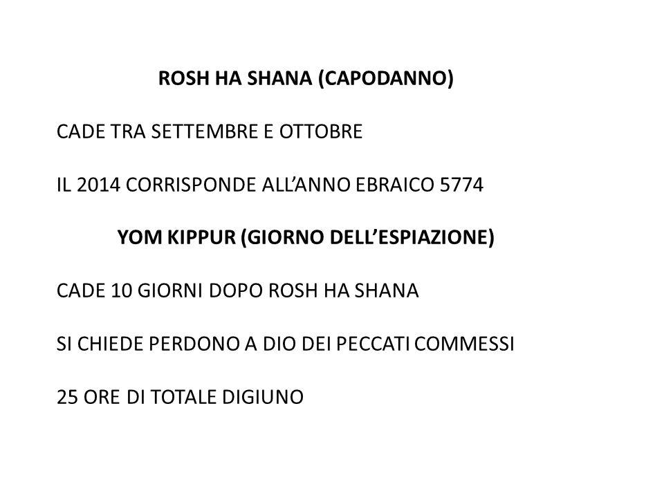 ROSH HA SHANA (CAPODANNO) CADE TRA SETTEMBRE E OTTOBRE IL 2014 CORRISPONDE ALL'ANNO EBRAICO 5774 YOM KIPPUR (GIORNO DELL'ESPIAZIONE) CADE 10 GIORNI DO