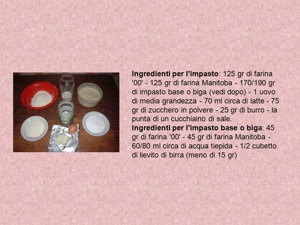 Ingredienti per l'impasto: 125 gr di farina '00' - 125 gr di farina Manitoba - 170/190 gr di impasto base o biga (vedi dopo) - 1 uovo di media grandez
