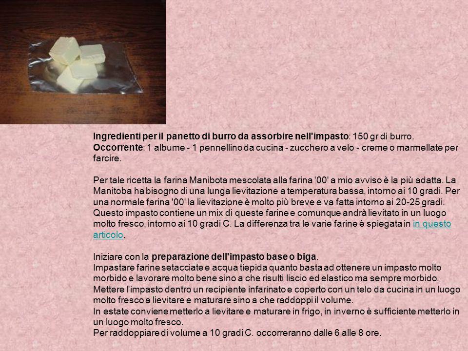 Ingredienti per il panetto di burro da assorbire nell'impasto: 150 gr di burro. Occorrente: 1 albume - 1 pennellino da cucina - zucchero a velo - crem