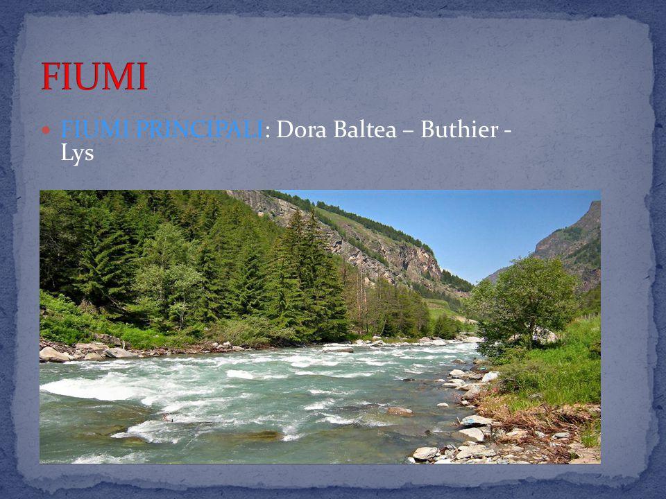 FIUMI PRINCIPALI: Dora Baltea – Buthier - Lys