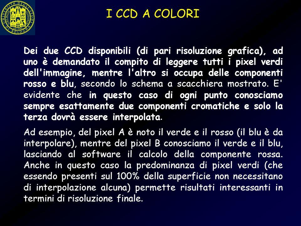 Dei due CCD disponibili (di pari risoluzione grafica), ad uno è demandato il compito di leggere tutti i pixel verdi dell'immagine, mentre l'altro si o