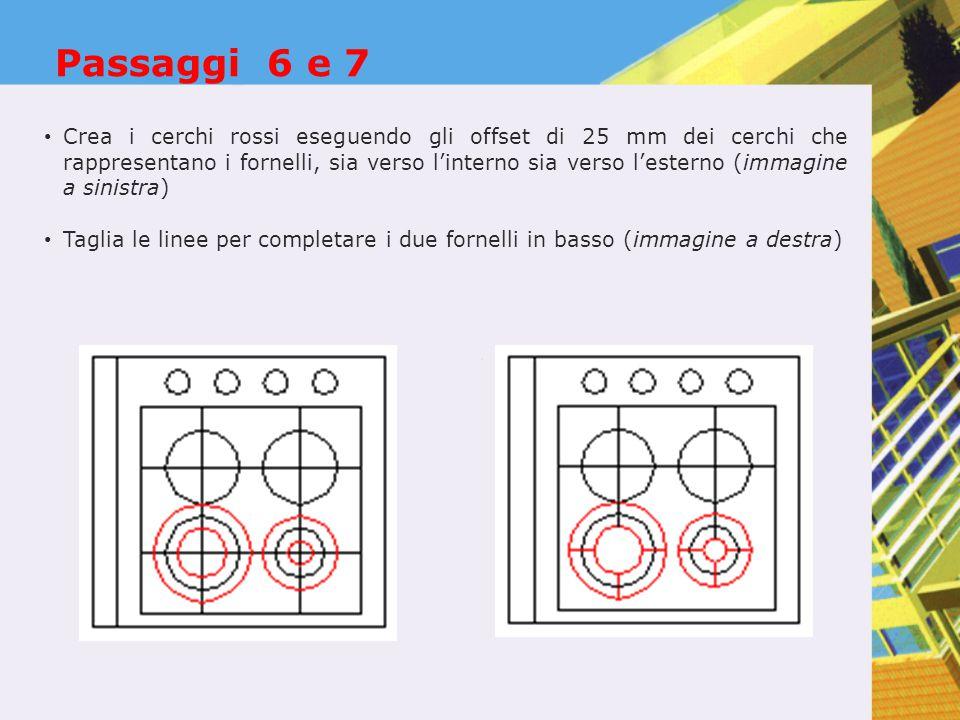 Passaggi 6 e 7 Crea i cerchi rossi eseguendo gli offset di 25 mm dei cerchi che rappresentano i fornelli, sia verso l'interno sia verso l'esterno (immagine a sinistra) Taglia le linee per completare i due fornelli in basso (immagine a destra)