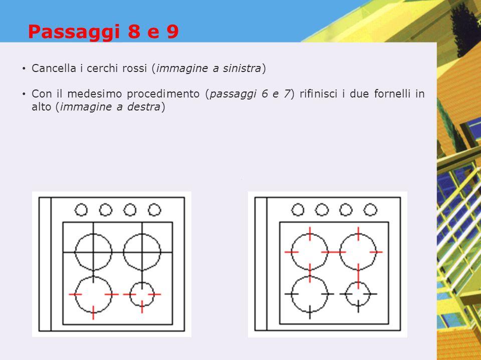 Passaggi 8 e 9 Cancella i cerchi rossi (immagine a sinistra) Con il medesimo procedimento (passaggi 6 e 7) rifinisci i due fornelli in alto (immagine a destra)
