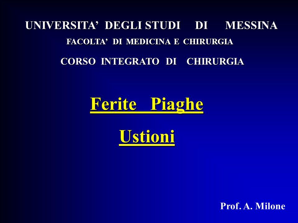 Ferite Piaghe Ustioni Prof. A. Milone UNIVERSITA' DEGLI STUDI DI MESSINA FACOLTA' DI MEDICINA E CHIRURGIA CORSO INTEGRATO DI CHIRURGIA