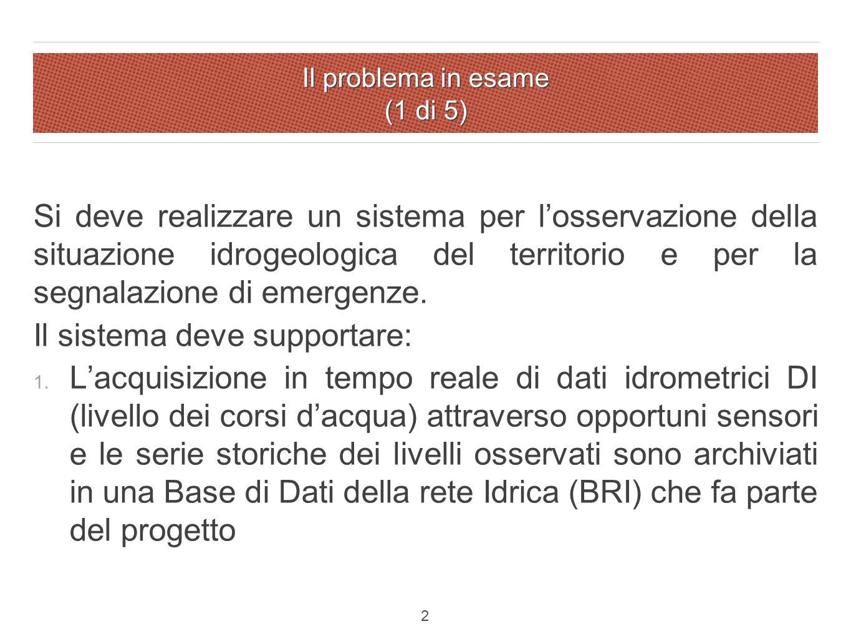 Il problema in esame (1 di 5) Si deve realizzare un sistema per l'osservazione della situazione idrogeologica del territorio e per la segnalazione di emergenze.