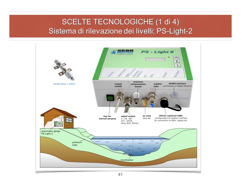 SCELTE TECNOLOGICHE (1 di 4) Sistema di rilevazione dei livelli: PS-Light-2 41