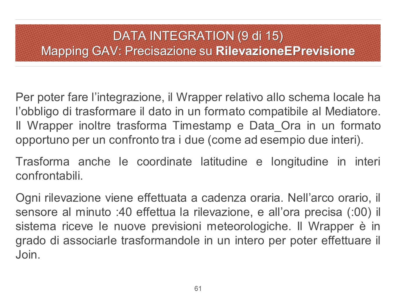 DATA INTEGRATION (9 di 15) Mapping GAV: Precisazione su RilevazioneEPrevisione Per poter fare l'integrazione, il Wrapper relativo allo schema locale ha l'obbligo di trasformare il dato in un formato compatibile al Mediatore.