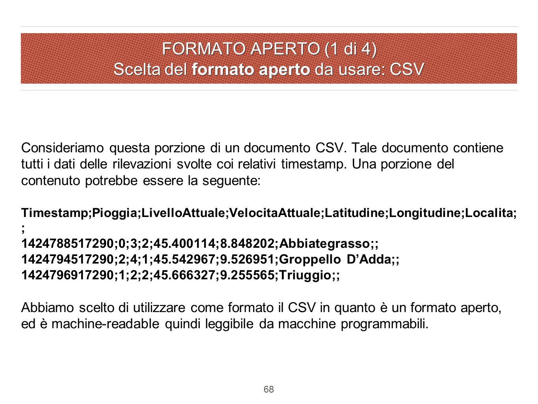 FORMATO APERTO (1 di 4) Scelta del formato aperto da usare: CSV Consideriamo questa porzione di un documento CSV.