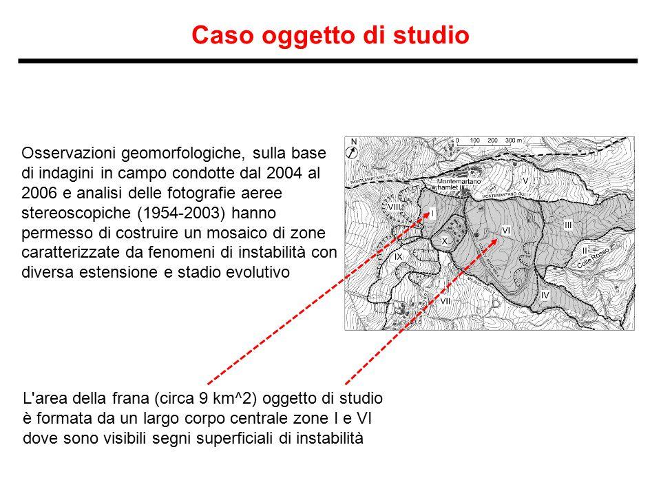 Caso oggetto di studio Osservazioni geomorfologiche, sulla base di indagini in campo condotte dal 2004 al 2006 e analisi delle fotografie aeree stereo