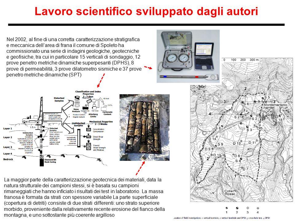 Lavoro scientifico sviluppato dagli autori Nel 2002, al fine di una corretta caratterizzazione stratigrafica e meccanica dell'area di frana il comune