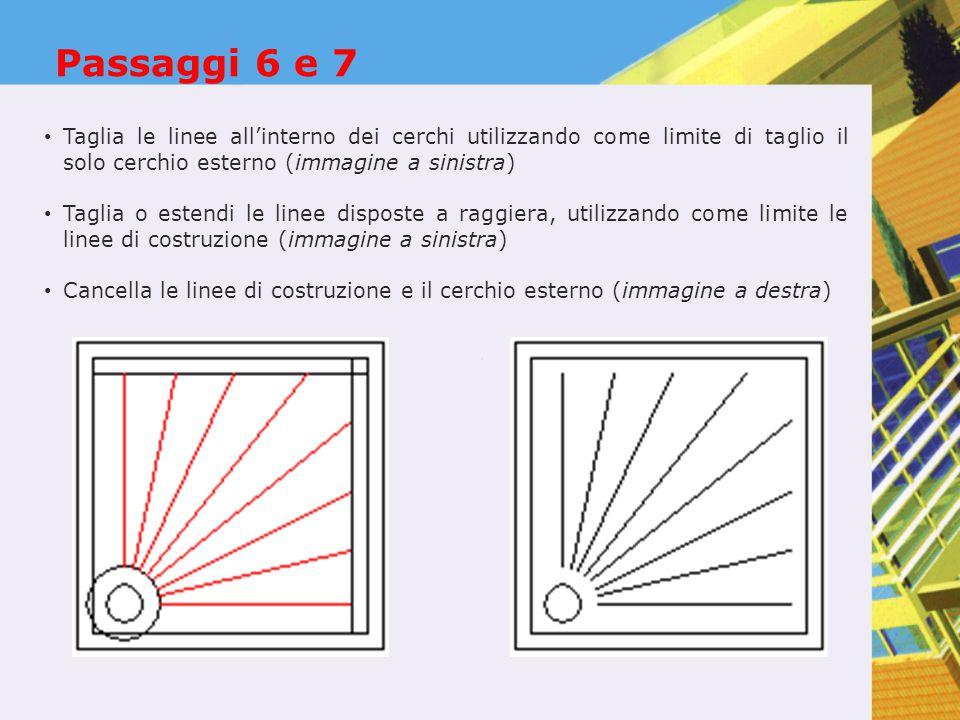 Passaggi 6 e 7 Taglia le linee all'interno dei cerchi utilizzando come limite di taglio il solo cerchio esterno (immagine a sinistra) Taglia o estendi