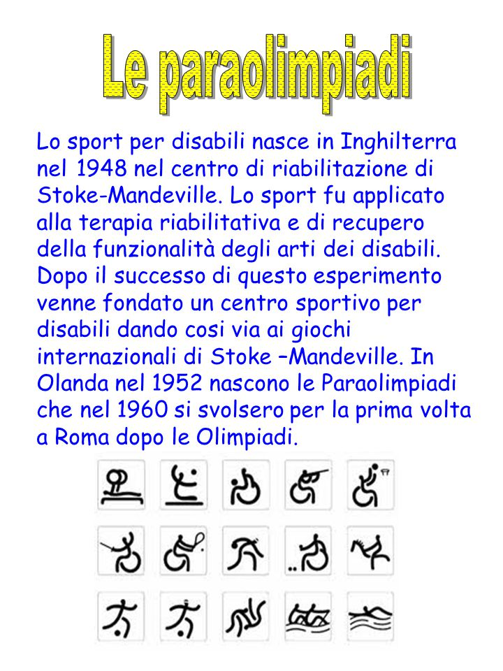 Lo sport per disabili nasce in Inghilterra nel 1948 nel centro di riabilitazione di Stoke-Mandeville.