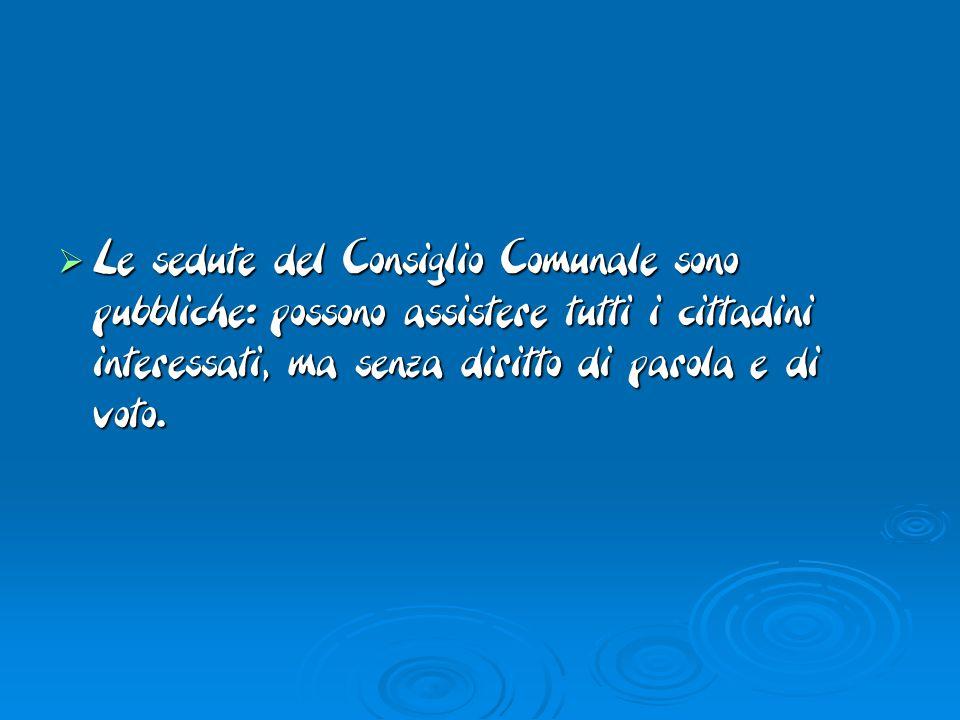  Le sedute del Consiglio Comunale sono pubbliche: possono assistere tutti i cittadini interessati, ma senza diritto di parola e di voto.