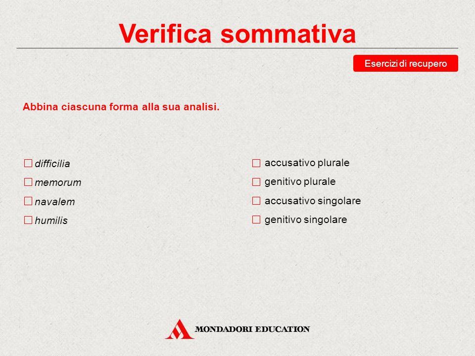 Verifica sommativa Esercizi di recupero Abbina ciascuna forma alla sua analisi.