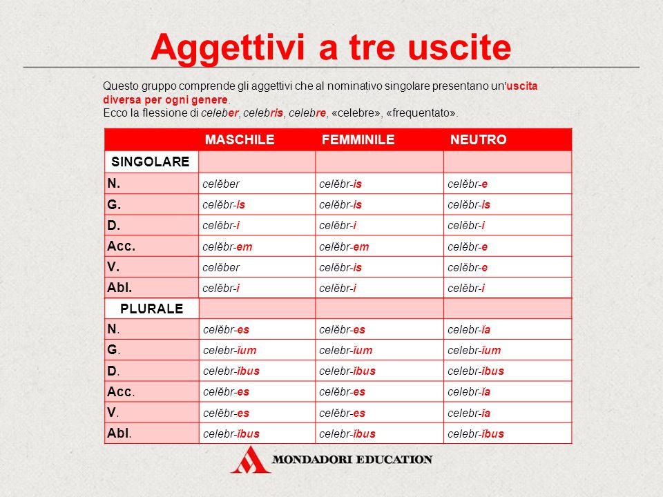 Gli aggettivi della II classe La II classe comprende aggettivi: a tre uscite (una per ciascuno dei tre generi) a due uscite (una per il maschile e il