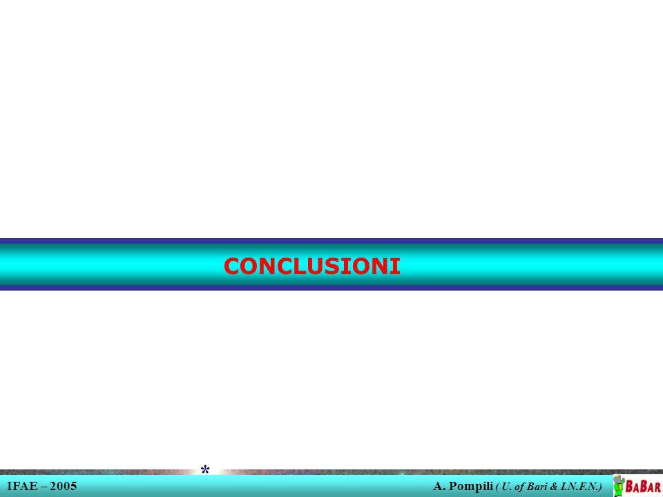 IFAE – 2005 A. Pompili ( U. of Bari & I.N.F.N.) * CONCLUSIONI