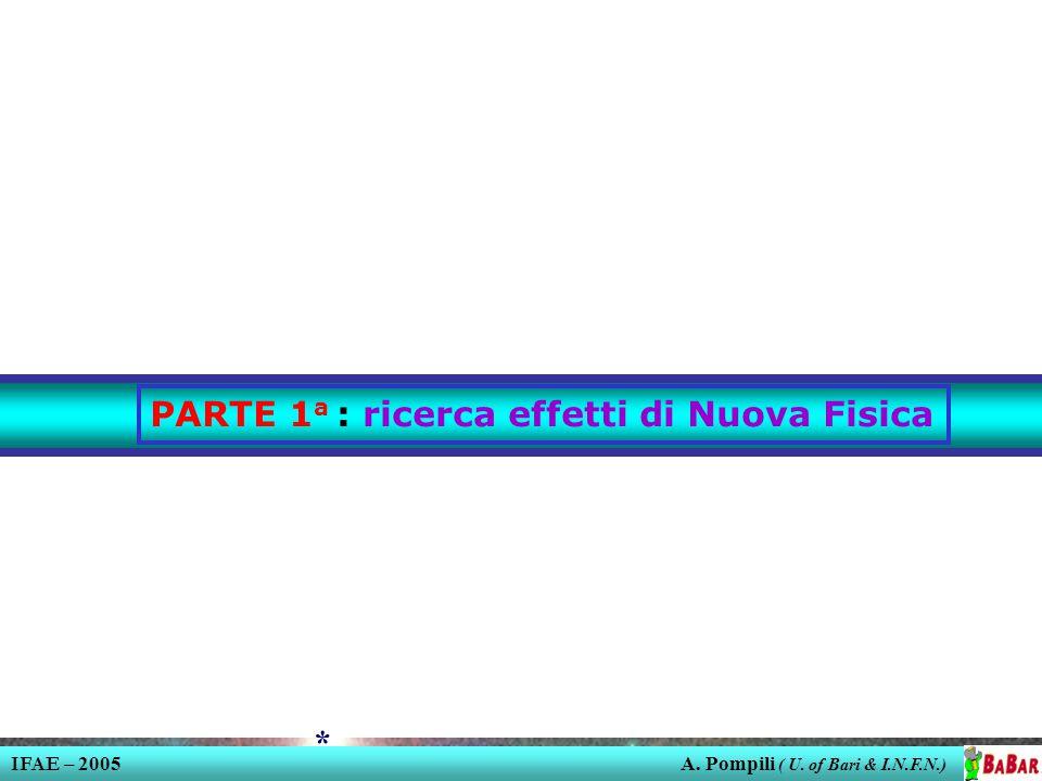 IFAE – 2005 A. Pompili ( U. of Bari & I.N.F.N.) * PARTE 1 a : ricerca effetti di Nuova Fisica