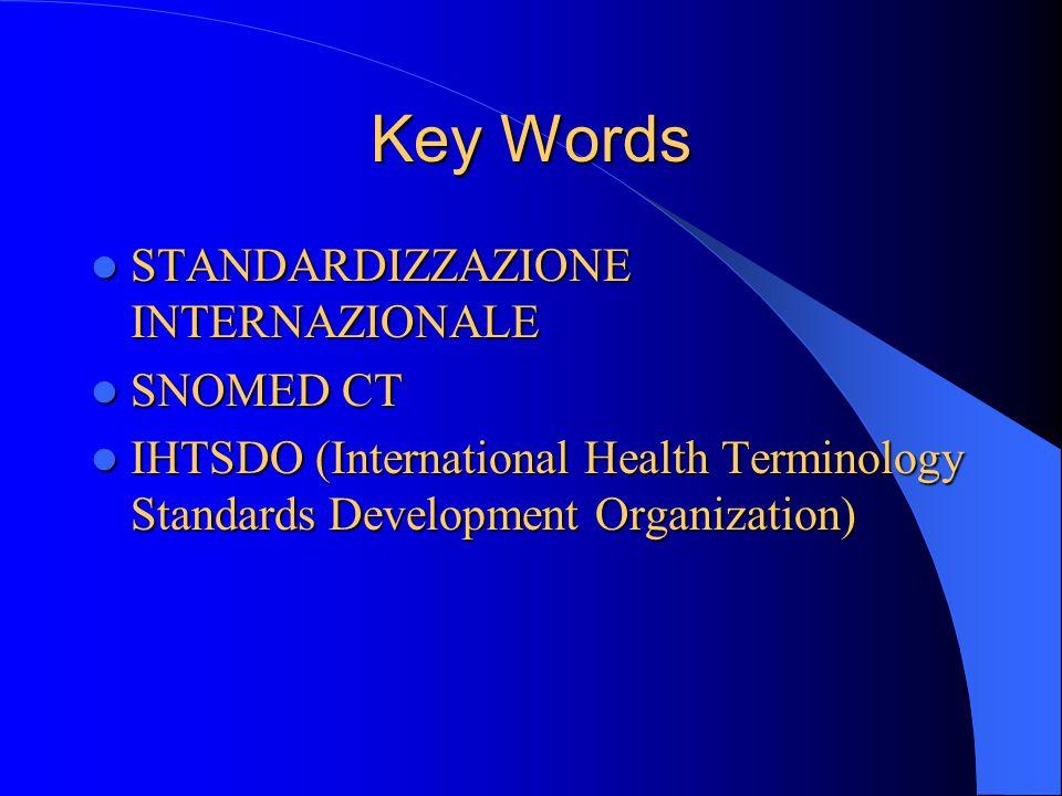 Key Words STANDARDIZZAZIONE INTERNAZIONALE STANDARDIZZAZIONE INTERNAZIONALE SNOMED CT SNOMED CT IHTSDO (International Health Terminology Standards Development Organization) IHTSDO (International Health Terminology Standards Development Organization)