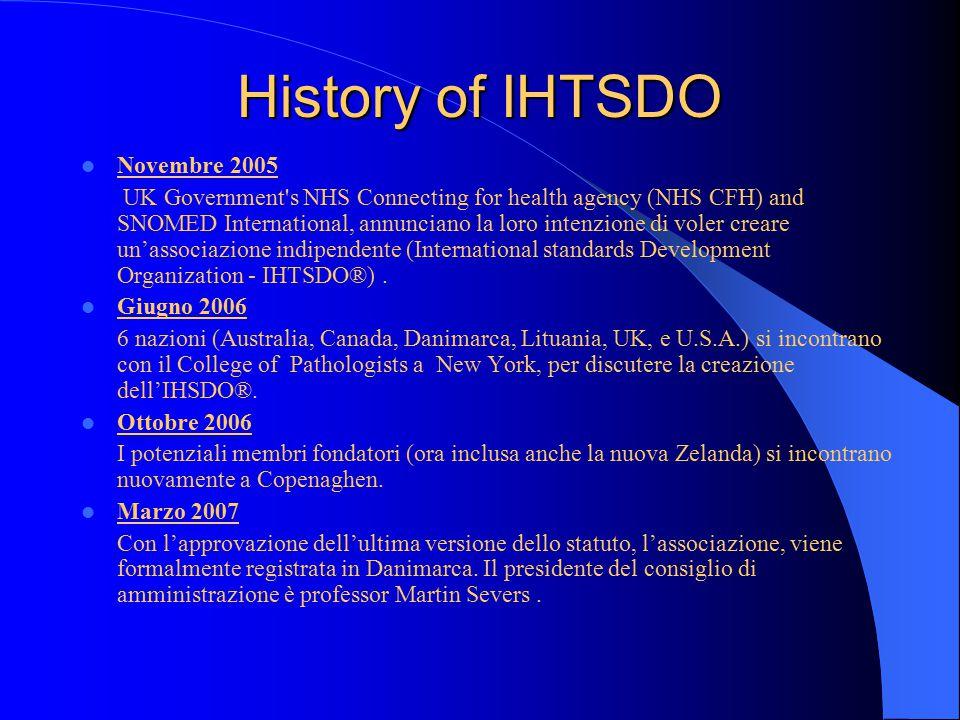 History of IHTSDO Novembre 2005 UK Government s NHS Connecting for health agency (NHS CFH) and SNOMED International, annunciano la loro intenzione di voler creare un'associazione indipendente (International standards Development Organization - IHTSDO®).