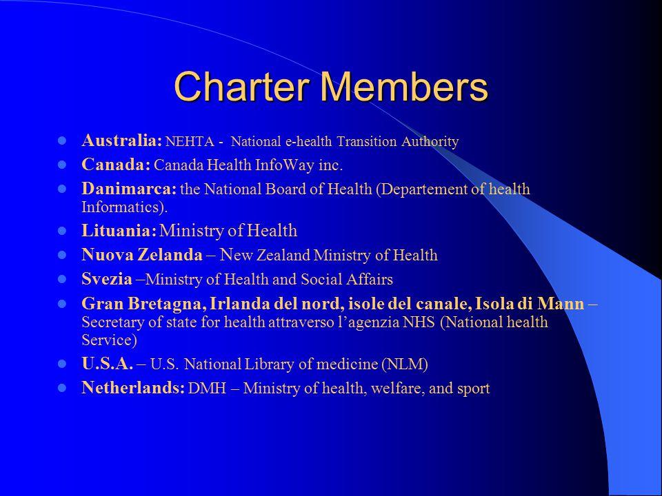 Charter Members Australia: NEHTA - National e-health Transition Authority Canada: Canada Health InfoWay inc.