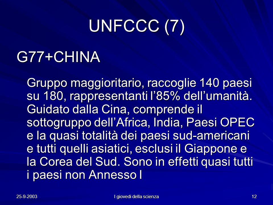 25-9-2003 I giovedi della scienza 12 UNFCCC (7) G77+CHINA Gruppo maggioritario, raccoglie 140 paesi su 180, rappresentanti l'85% dell'umanità.