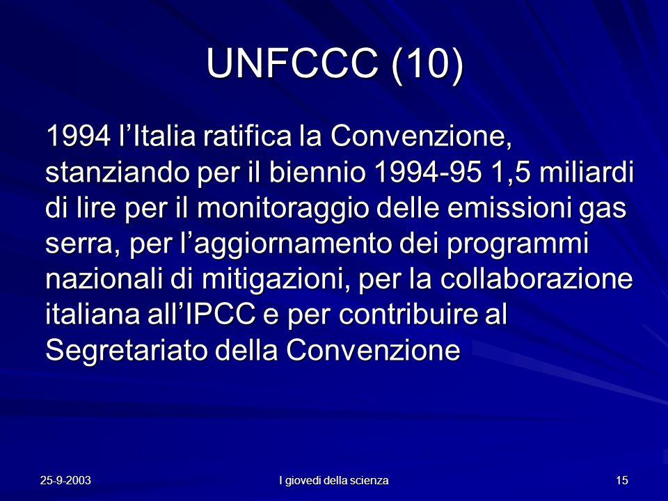 25-9-2003 I giovedi della scienza 15 UNFCCC (10) 1994 l'Italia ratifica la Convenzione, stanziando per il biennio 1994-95 1,5 miliardi di lire per il monitoraggio delle emissioni gas serra, per l'aggiornamento dei programmi nazionali di mitigazioni, per la collaborazione italiana all'IPCC e per contribuire al Segretariato della Convenzione