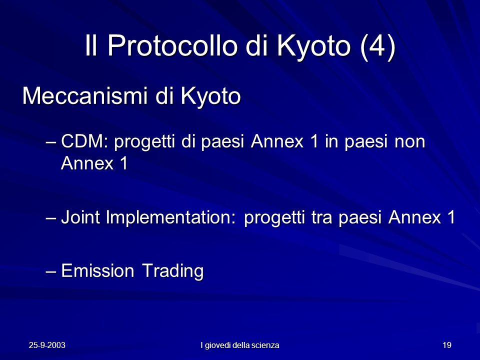 25-9-2003 I giovedi della scienza 19 Il Protocollo di Kyoto (4) Meccanismi di Kyoto –CDM: progetti di paesi Annex 1 in paesi non Annex 1 –Joint Implementation: progetti tra paesi Annex 1 –Emission Trading
