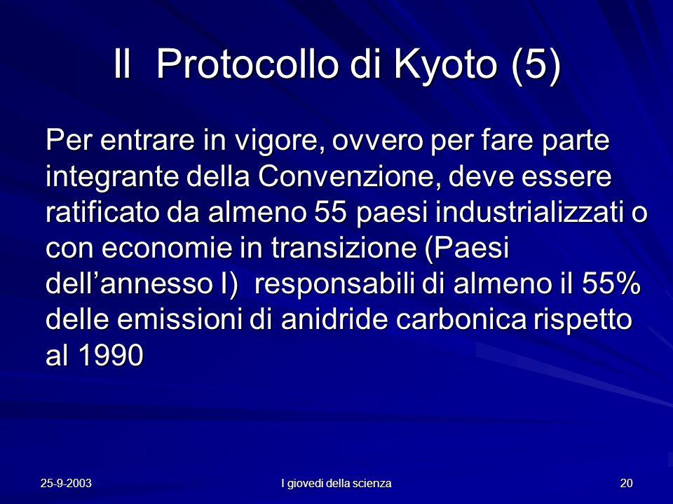 25-9-2003 I giovedi della scienza 20 Il Protocollo di Kyoto (5) Per entrare in vigore, ovvero per fare parte integrante della Convenzione, deve essere ratificato da almeno 55 paesi industrializzati o con economie in transizione (Paesi dell'annesso I) responsabili di almeno il 55% delle emissioni di anidride carbonica rispetto al 1990