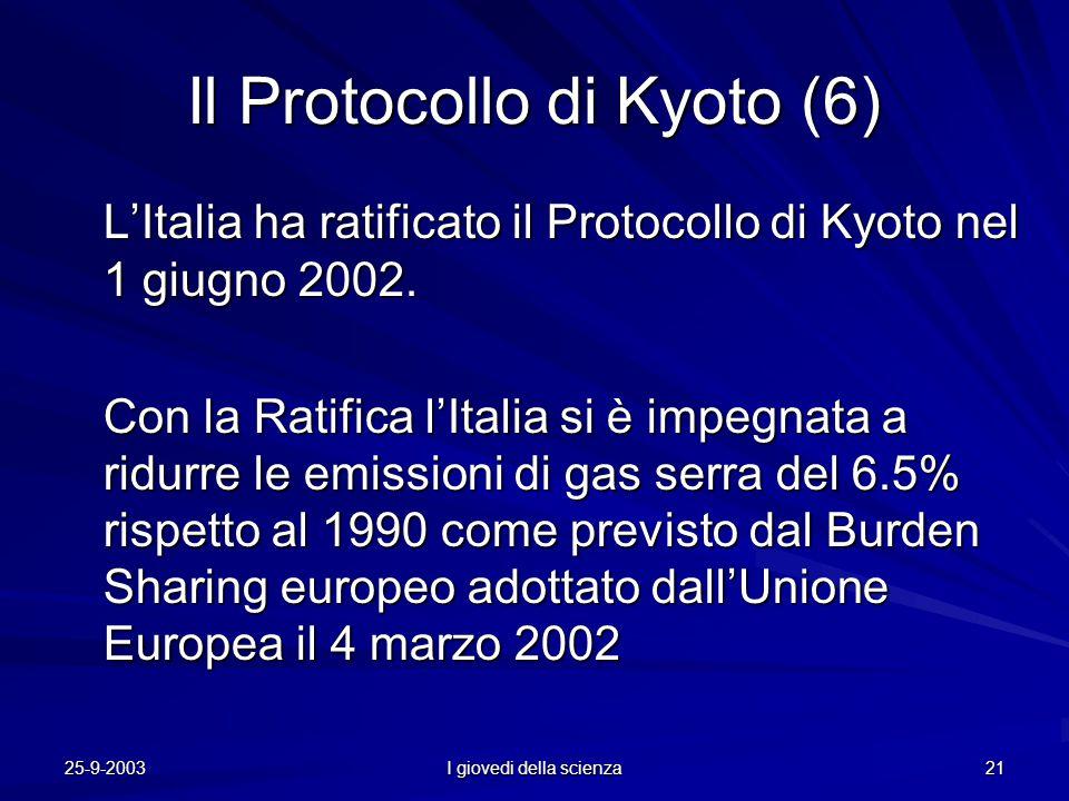 25-9-2003 I giovedi della scienza 21 Il Protocollo di Kyoto (6) L'Italia ha ratificato il Protocollo di Kyoto nel 1 giugno 2002.