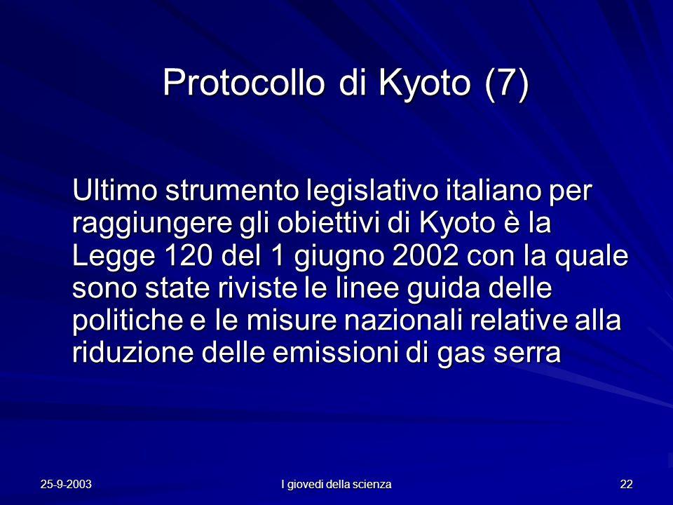 25-9-2003 I giovedi della scienza 22 Protocollo di Kyoto (7) Ultimo strumento legislativo italiano per raggiungere gli obiettivi di Kyoto è la Legge 120 del 1 giugno 2002 con la quale sono state riviste le linee guida delle politiche e le misure nazionali relative alla riduzione delle emissioni di gas serra