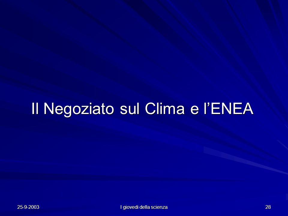 25-9-2003 I giovedi della scienza 28 Il Negoziato sul Clima e l'ENEA