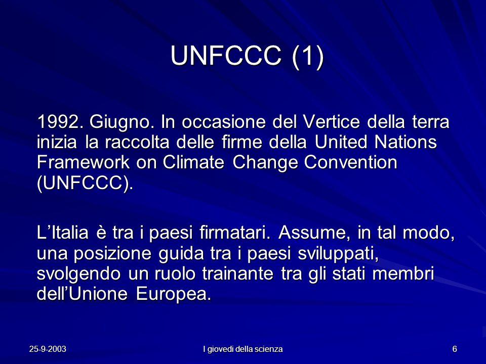 25-9-2003 I giovedi della scienza 6 UNFCCC (1) 1992.