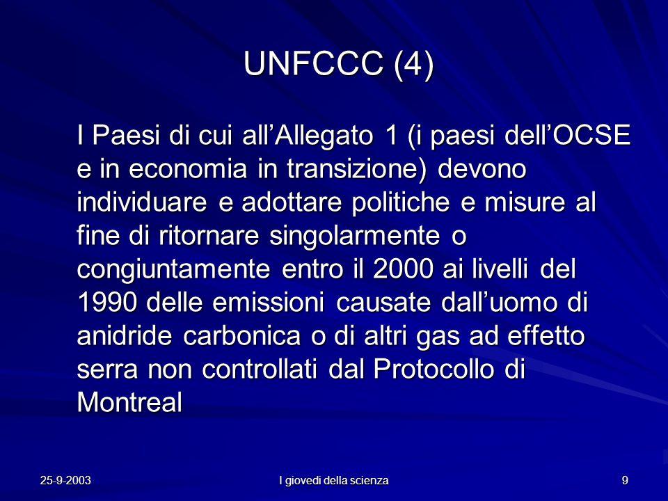 25-9-2003 I giovedi della scienza 9 UNFCCC (4) UNFCCC (4) I Paesi di cui all'Allegato 1 (i paesi dell'OCSE e in economia in transizione) devono individuare e adottare politiche e misure al fine di ritornare singolarmente o congiuntamente entro il 2000 ai livelli del 1990 delle emissioni causate dall'uomo di anidride carbonica o di altri gas ad effetto serra non controllati dal Protocollo di Montreal