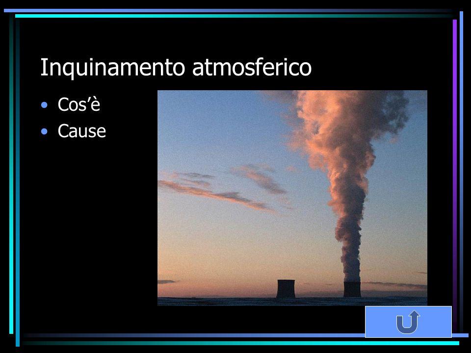 Inquinamento atmosferico Cos'è Cause