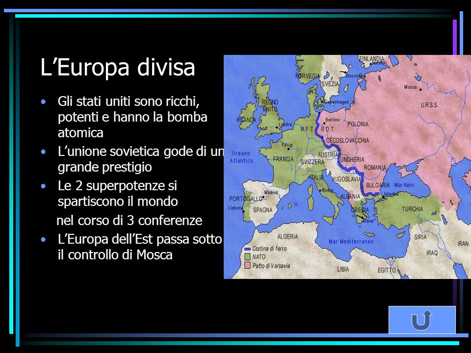 L'Europa divisa Gli stati uniti sono ricchi, potenti e hanno la bomba atomica L'unione sovietica gode di un grande prestigio Le 2 superpotenze si spar