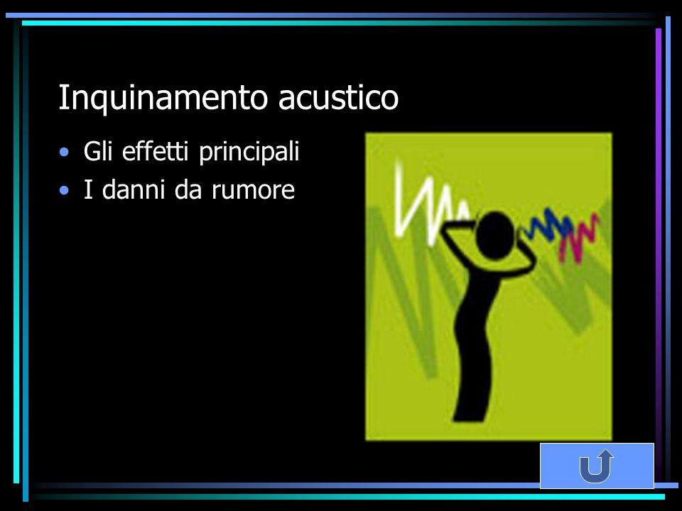 Inquinamento acustico Gli effetti principali I danni da rumore