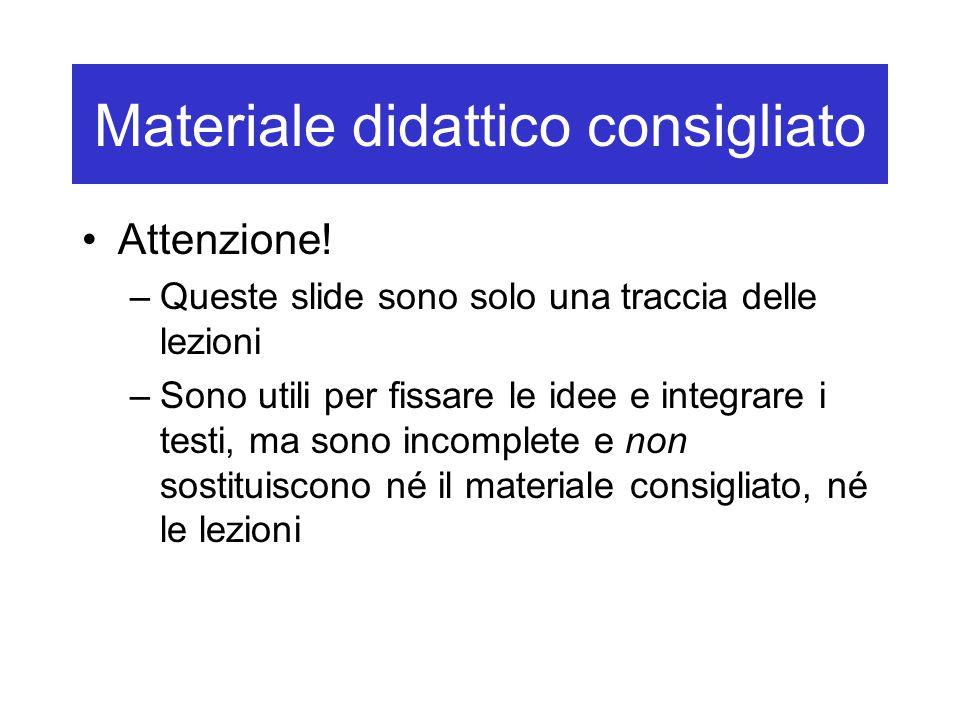 Materiale didattico consigliato Attenzione! –Queste slide sono solo una traccia delle lezioni –Sono utili per fissare le idee e integrare i testi, ma