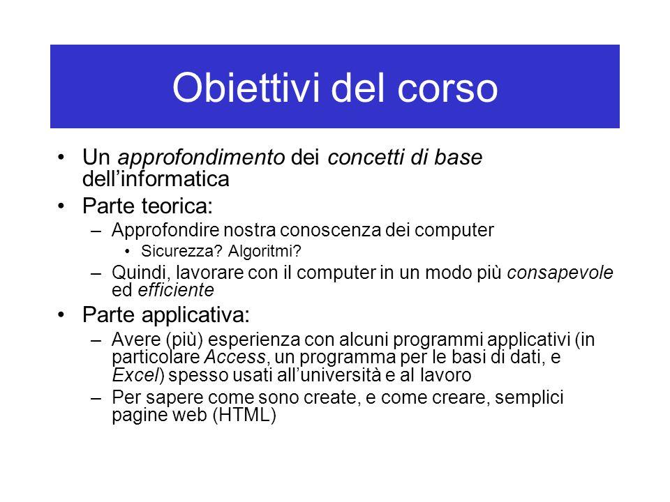 Obiettivi del corso Un approfondimento dei concetti di base dell'informatica Parte teorica: –Approfondire nostra conoscenza dei computer Sicurezza? Al