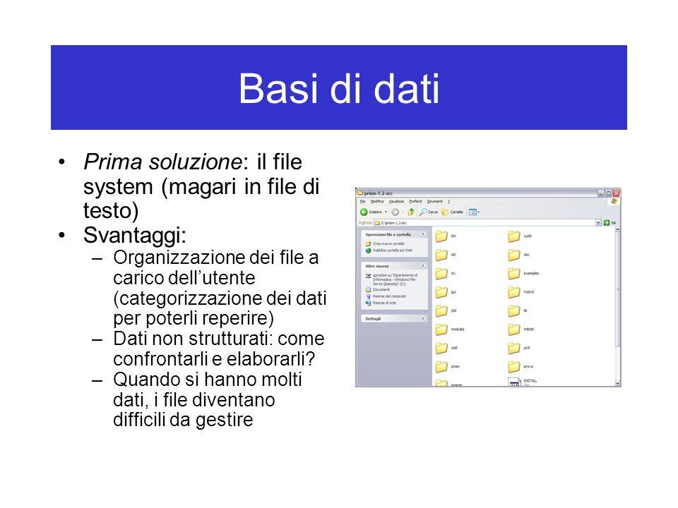Basi di dati Prima soluzione: il file system (magari in file di testo) Svantaggi: –Organizzazione dei file a carico dell'utente (categorizzazione dei